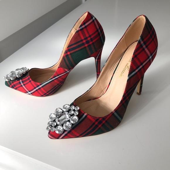 8f73fe85d2f New LAUREN Lorraine red plaid heels shoe jewel